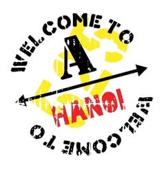 Hanoi stamp rubber grunge vector