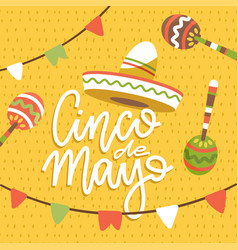 happy cinco de mayo greeting card with hand drawn vector image