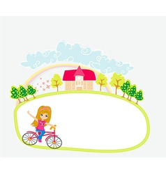 Happy Driving Bike with Cute Smiling Young Girl - vector