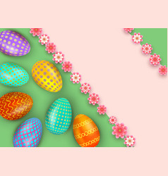 happy easter abstract background with realistic vector image