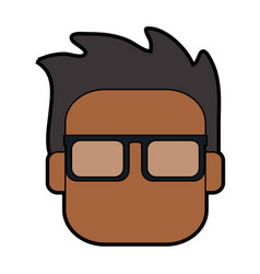 Head of dark skin man with glasses icon imag vector