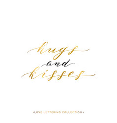 Hugs and kisses gold text isolated vector