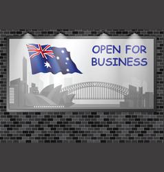Illuminated advertising billboard australia open b vector