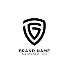 initial g shield logo design inspiration vector image