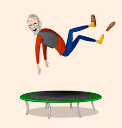 Jumping on trampoline vector