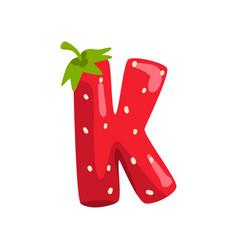 Letter k english alphabet made from ripe fresh vector
