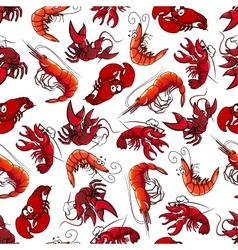 Lobsters and shrimps seamless pattern vector