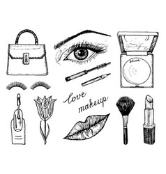 Makeup tools set doodle a collection female vector