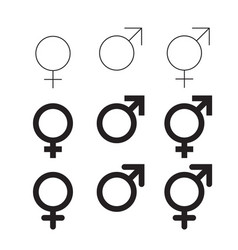 male and female isolated gender symbols vector image