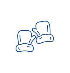 mittens line icon concept mittens flat vector image