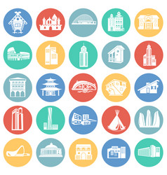modern and old buildings set on color circles vector image
