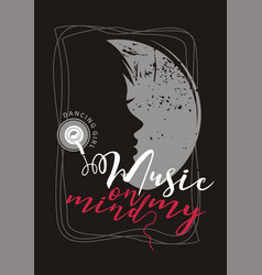 music on my mind dancing girl sound logo club vector image