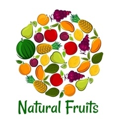 Natural fruits placard background vector
