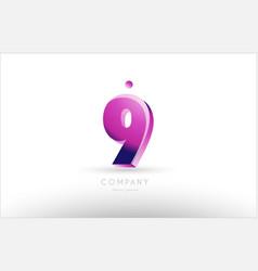 Number 9 nine black white pink logo icon design vector