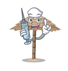 Nurse character tropical sand beach shelter resort vector