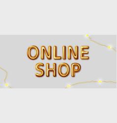 online shop inscription gold letters vector image