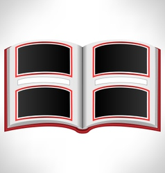 Open red book on grayscale vector image