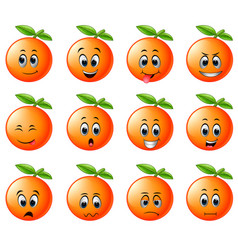 Orange with different emoticon vector