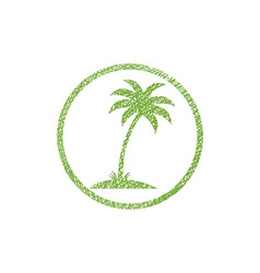 Palm tree icon with hand drawn lines texture vector