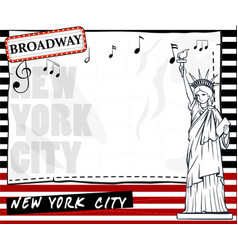 Paper template with new york city background vector