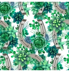 Pattern with horseshoes and succulents vector