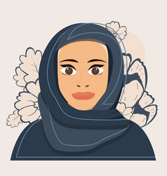 portrait a young muslim woman in hijab flowers vector image
