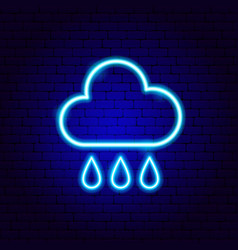 Rainy cloud drops neon sign vector
