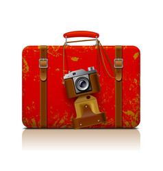 red vintage threadbare suitcase with a retro vector image