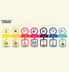 retro timeline infographic with set of icons vector image