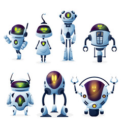 Robot with artificial intelligence characters vector