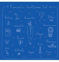 Romantic gentleman set vector