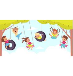 Rope swing happy cute children hang vector