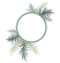 round frame decorated with palm leaves image vector image