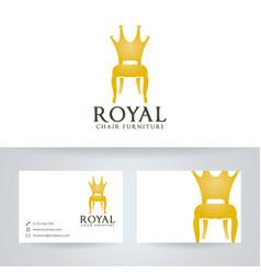 Royal chair furniture logo design vector
