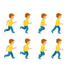 Running boy animation sprite set 8 frame loop vector