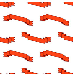 seamless pattern of flat red curved ribbon vector image