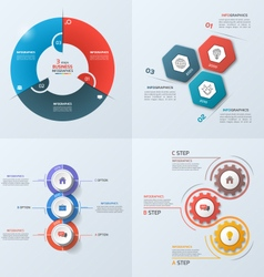 Set of 4 infographic templates with 3 options vector