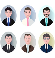 set of businessman icons style flat vector image