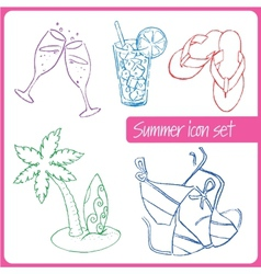 Set of hand drawn summer vacation icons vector image