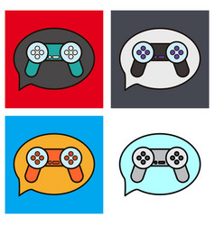 Set of icon of social media e-mail game joystick vector