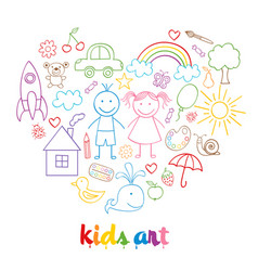 Set of isolated child drawings vector