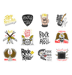Set of rock and roll music symbols with guitar vector