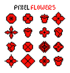 set various red pixel flowers vector image