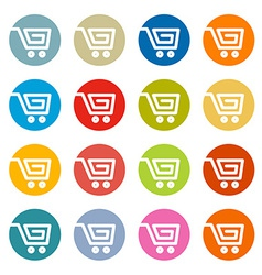 Shopping Cart Basket Web Symbols Icons Set in vector image