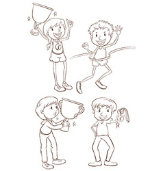 Sketches of the different winners vector image