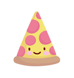 Slice pizza pepperoni cartoon food cute line and vector