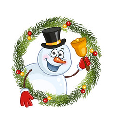 Snowman with a bell in a christmas wreath vector