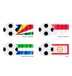 Soccer Ball with Seychelles Singapore Flag vector image