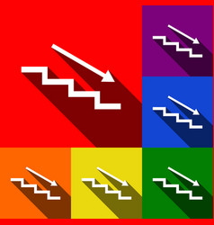 Stair down with arrow set of icons with vector