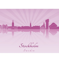 Stockholm skyline in purple radiant orchid vector